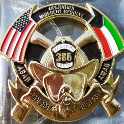 "USAF 386 ECES ASAB AMAB OIR Combat Deployment ""The Rock"" FF Custom Challenge Coin front"