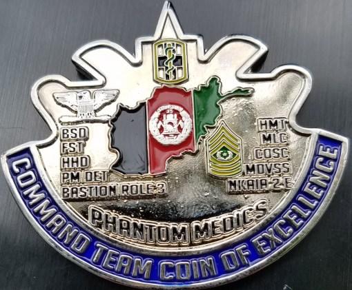 Task Force 31 Medical OEF 14 Command Team Phantom Medics DUI Shaped Challenge Coin back
