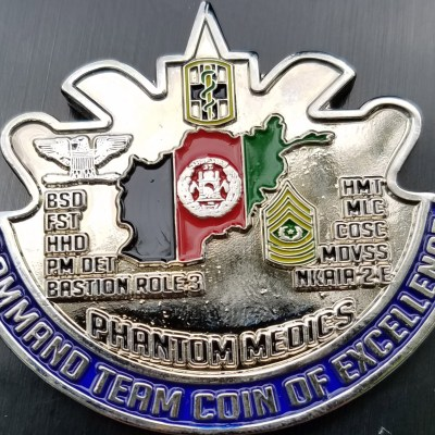 Task Force 31 Medical OEF 14 Command Team Phantom Medics DUI Shaped Challenge Coin back
