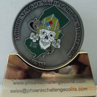 Middlesex County NJ HAZMAT IAFF Challenge Coin back