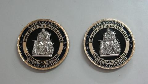 US Ambassador to Denmark Rufus Gifford Personal Presentation Challenge Coin