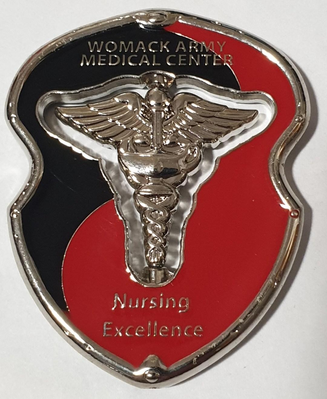 WAMC Womac Army Medical Center Ft Bragg Nursing Cutout spinner Custom Challenge Coin back