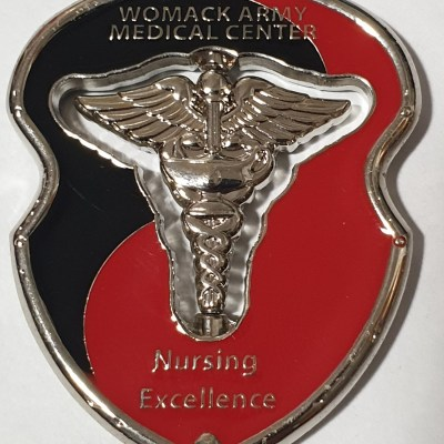 WAMC Womac Army Medical Center Ft Bragg Nursing Cutout spinner Custom Challenge Coin back