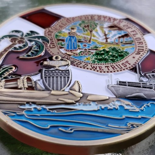 US Coast Guard Space and Treasure Coast Chief's Mess Custom Challenge Coin 3D dimensionality