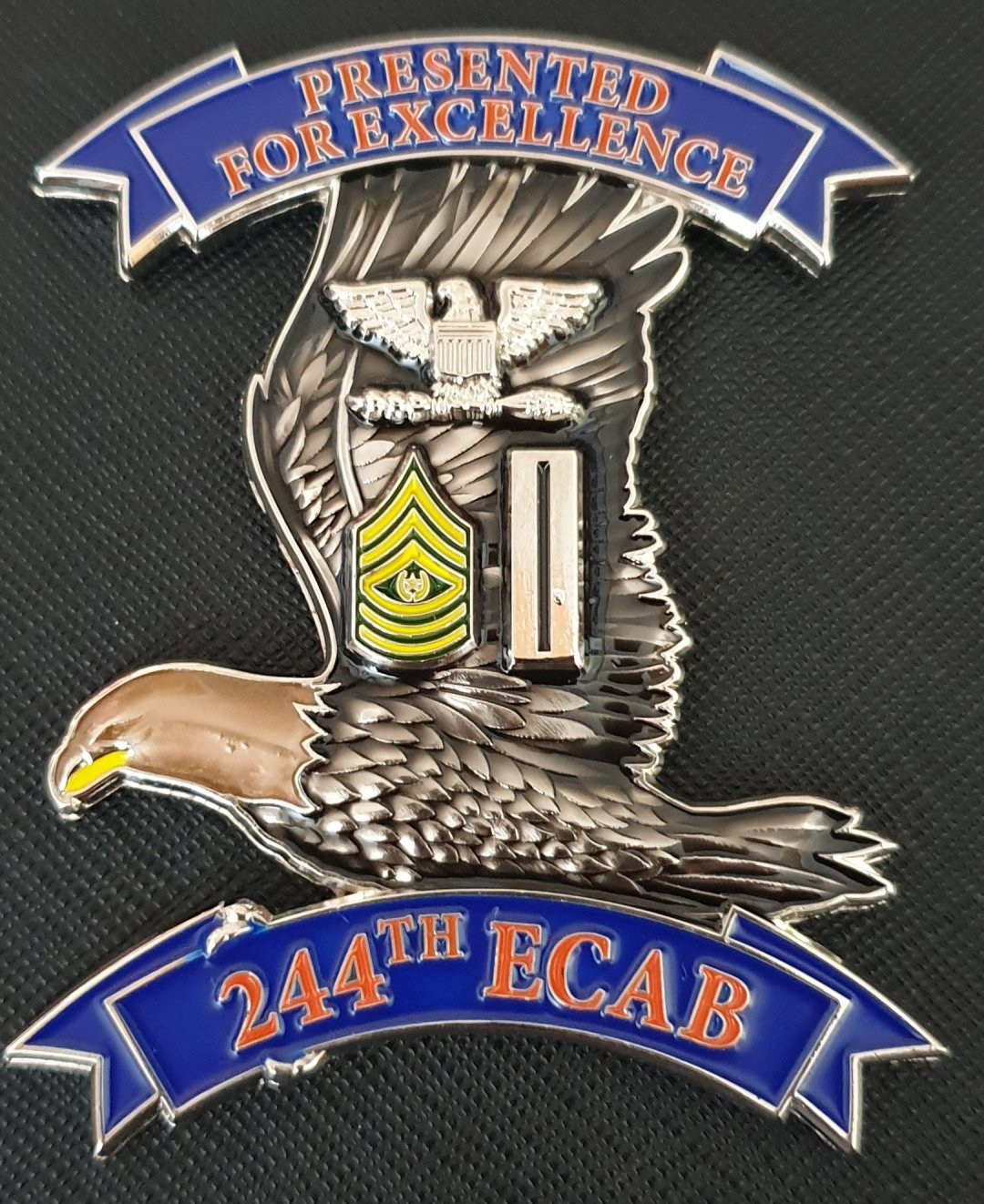 US Army TF WARHAWK 244th ECAB 244th Expeditionary Combat Aviation Brigade OIR 2019 Deployment Command Team Coin backside