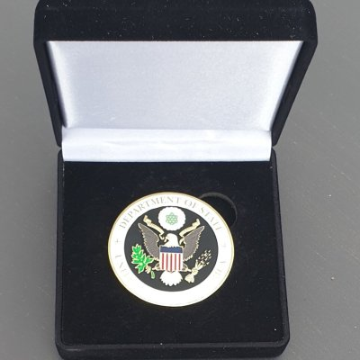 US Department of State US Embassy Portugal Azores 225th Anniversary Challenge Coin With Box front