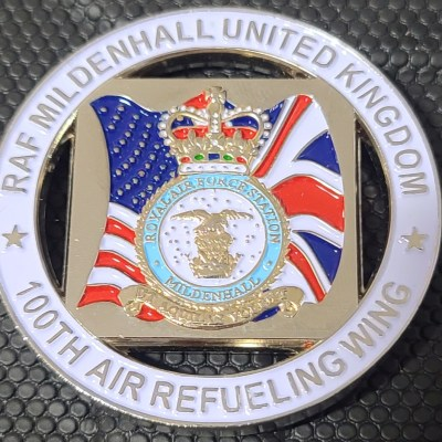 """USAF 100th ARW Air refueling wing RAF Mildenhall """"Squared Away"""" Commander's Cut out Challenge Coin"""