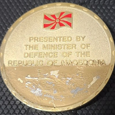 Republic of Macedonia Minister of Defense presentation challenge coin back