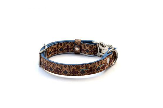 Handcrafted Motif Pattern Premium Soft Leather Dog Collar