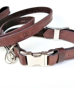 Handcrafted Premium Soft Leather Dog Collar & Lead Set Dark brown
