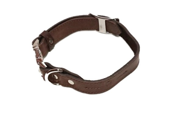 Handcrafted Premium Soft Leather Dog Collar-Fully Adjustable Metal Side Release Buckle - Medium Brown