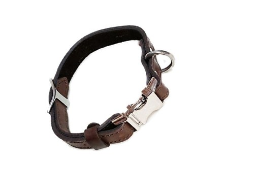 HANDCRAFTED PREMIUM SOFT LEATHER DOG COLLAR-FULLY ADJUSTABLE METAL SIDE RELEASE BUCKLE – Small BROWN