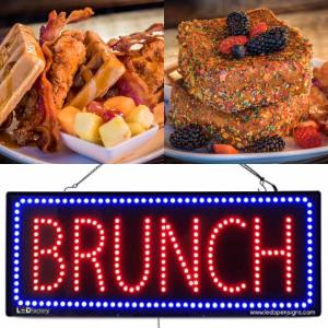 Image of a neon sign showing brunch plus waffles and another dish