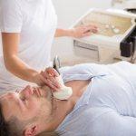 Man having his thyroid tested