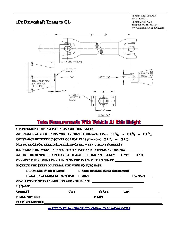 how to measure phoenix rack and axle