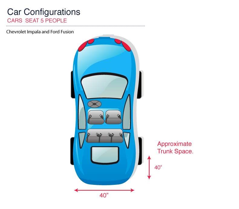 Illustration of seating and cargo space in car for rent in Phoenix, Arizona