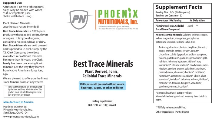 Best Trace Minerals, Plant Derived, Ionic, Colloidal Trace Minerals in liquid form for up to 96% Absorption. Our all-natural trace mineral liquid comes from plant sources.