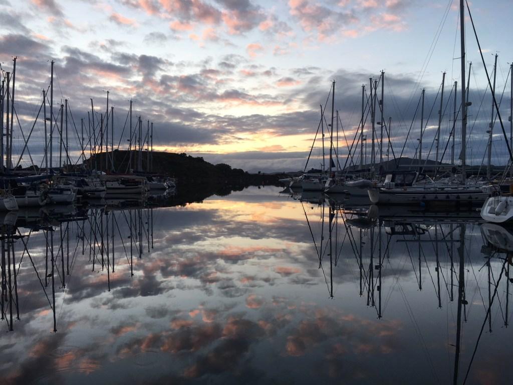 The sunset at Craobh Marina