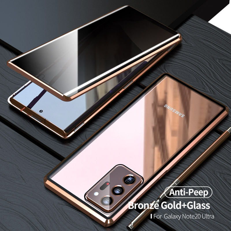 Magnetic Anti peeping privacy for Samsung Galaxy Note 20 Ultra S21 Ultra S21 S20 Fe Plus S20 Ultra case cover Funda Coque Metal