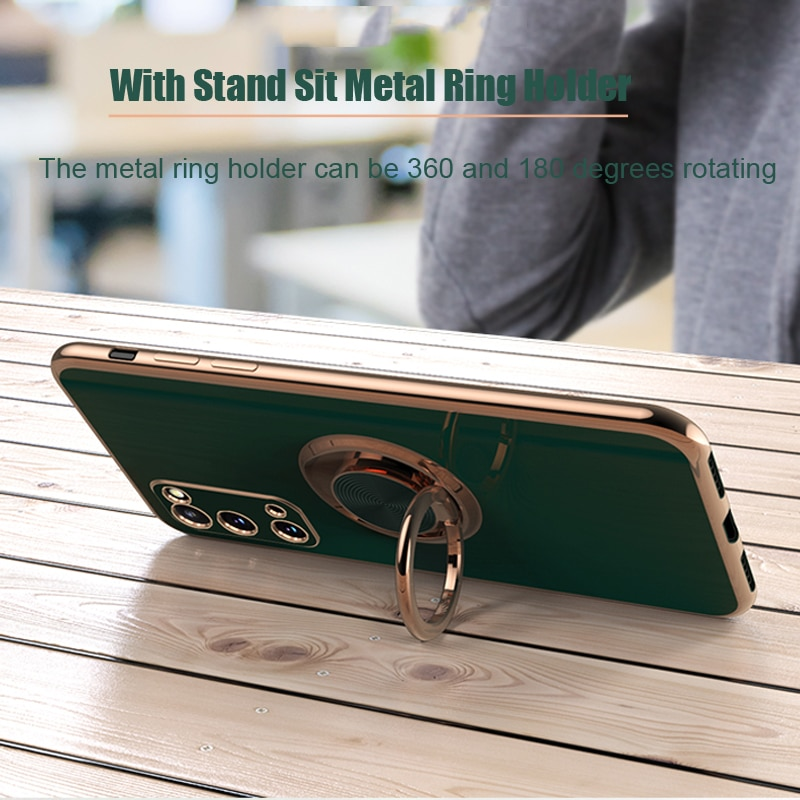 Plating Silicone Case For Samsung Galaxy S20 Ultra S21 Plus FE Note 20 9 10 A52 A72 A42 5G 4G Shell Cover With Ring Holder Stand