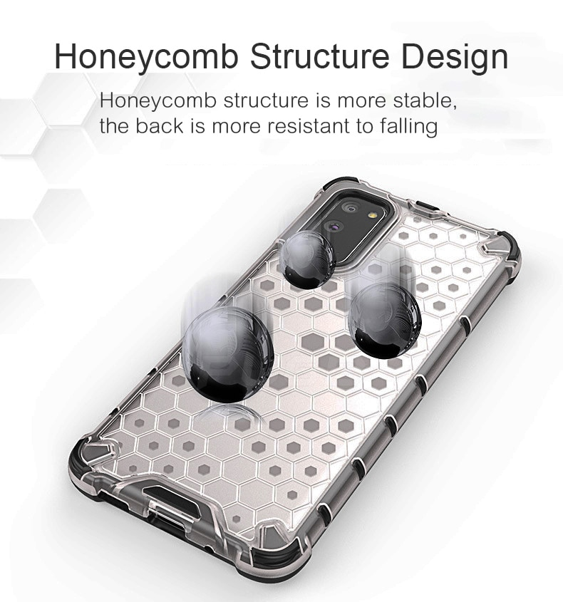 Luxury Honeycomb Shockproof Armor Transparent Case for Samsung Galaxy S21 S20 S10 Plus Note 20 Ultra 10 Plus Hard PC Phone Cover