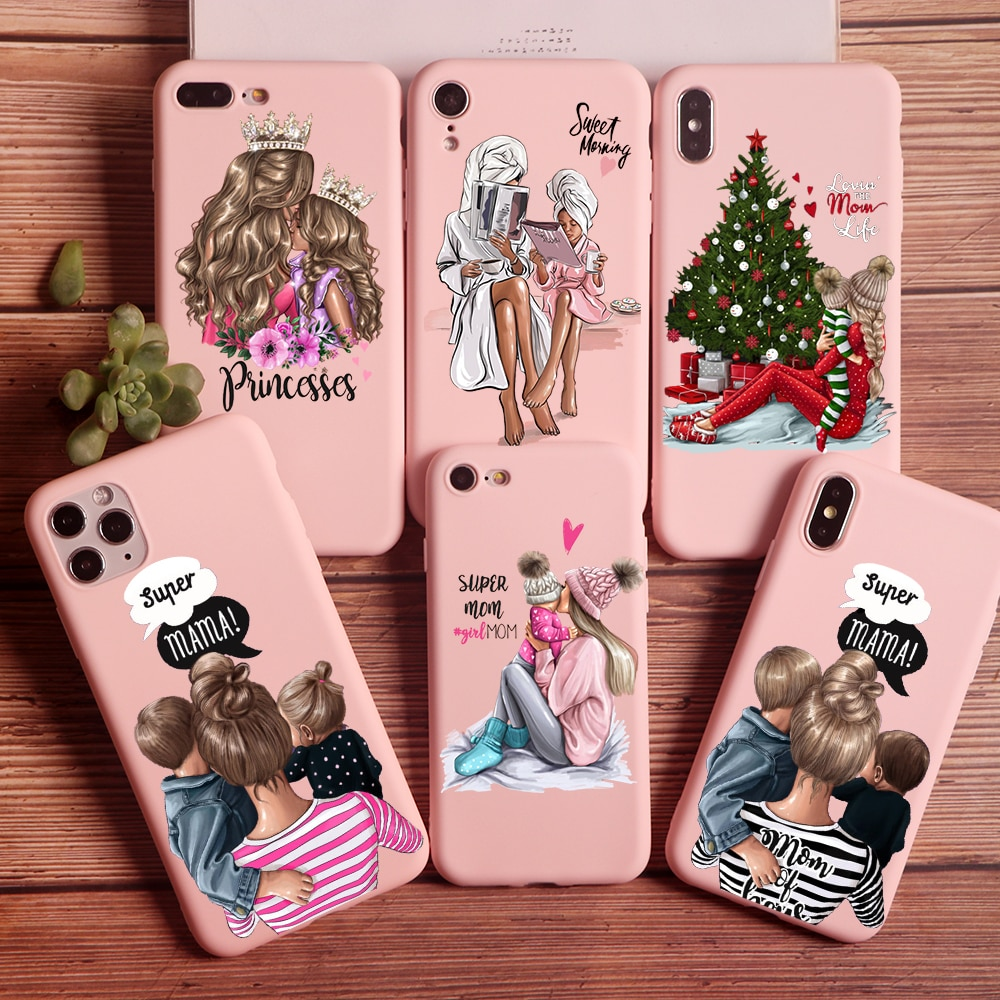 PUNQZY Cute MaMa Of Girl Boy Super Mom Phone Case For iPhone 12 PRO MAX 11 PRO XR 7 6 8 Plus X XS MAX Soft TPU Shell Phone Cover