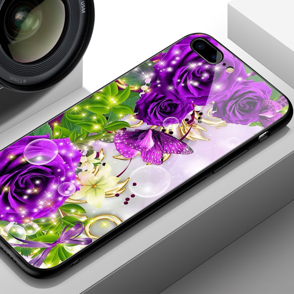 FinderCase for iPhone 6 Case Hard Back Cover Glass Red Rose Floral Case for iPhone 6 6S plus 8 7 plus X XR XS MAX 11 12 pro max