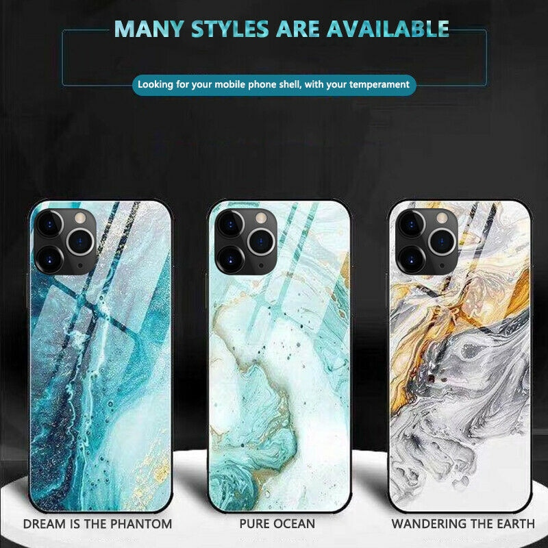 Luxury Full Protective Phone Case For iphone 11 12 Pro Max X XR XS Max 8 7 6 6s plus Tempered Glass TPU Hard Marble Back Cover