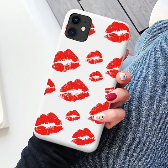 Black Sexy Girl red Lips Kiss TPU Soft Silicone Phone Case Cover for iPhone 8 7 6S Plus SE2020 XR X 12 11 pro XS MAX Coque Shell