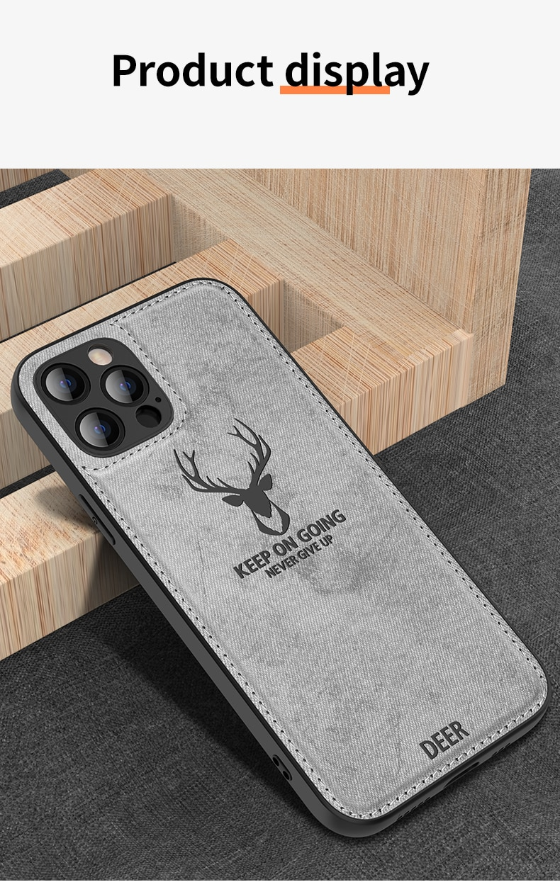 Fashion Built-in Magnet Shockproof Silicone Soft TPU Cloth Deer Phone Case For Apple iPhone 12 MINI 11 Pro MAX Back Cover Fundas