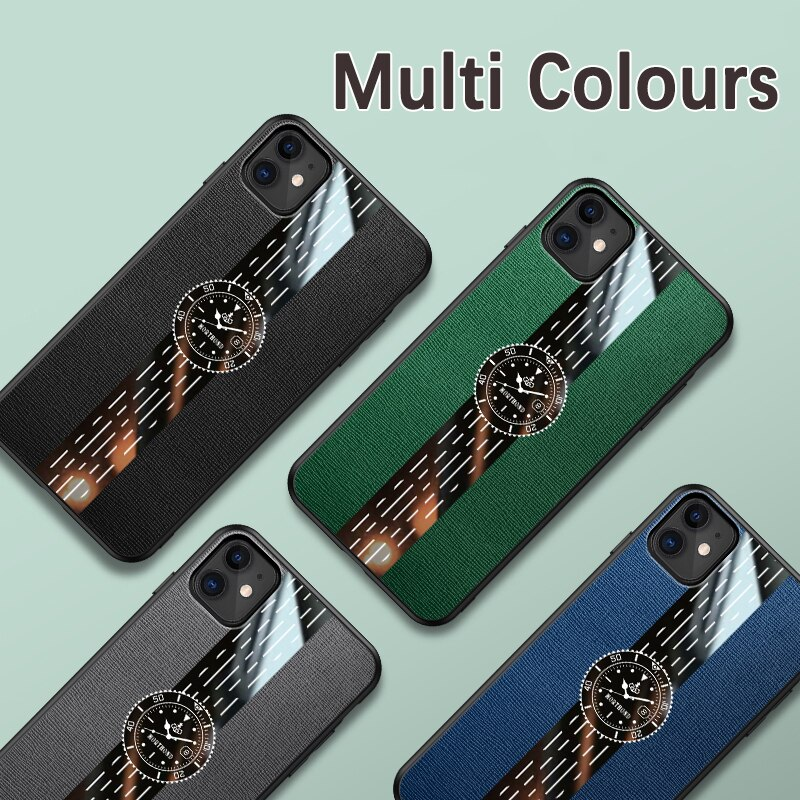 Phone Case For iphone 11 12 pro max 7 8 6 6s plus X Xs max XR Clock Luxury Leather Back Cover Finger Ring Car Holder For Men