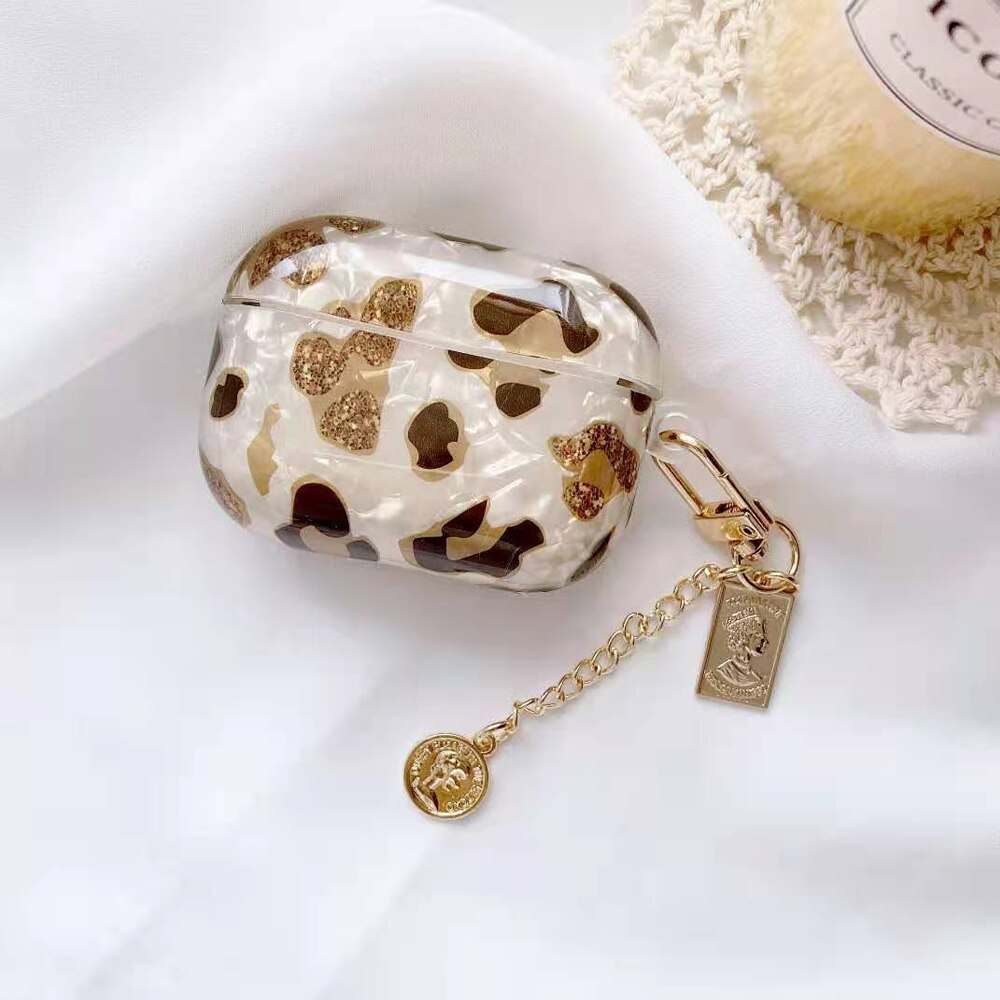 Luxury Leopard Pearl Case for Apple Airpods 1 2 3 Case Bracelet Chain Case for AirPods Pro Case Bluetooth Earphone Accessories