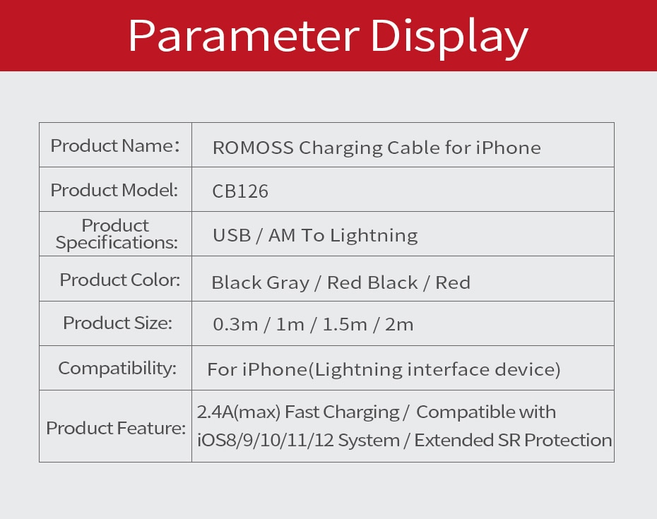 ROMOSS USB Cable for iPhone 11 Pro Max XS XR X 8 7 6 Plus 6S Plus iPad 2.4A Fast Data Charging Cables USB Wire Cord Phone Cables