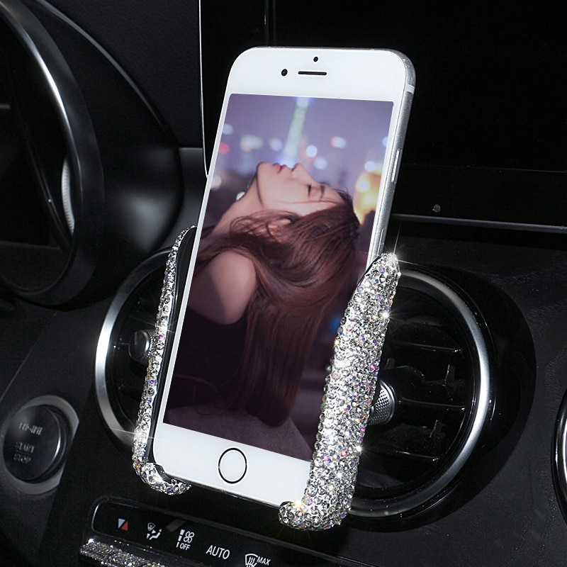 Universal Car Phone Holder With Bling Crystal Rhinestone Car Air Vent Mount Clip Dual USB Fast Car Charger 3 in 1 Charger Cable