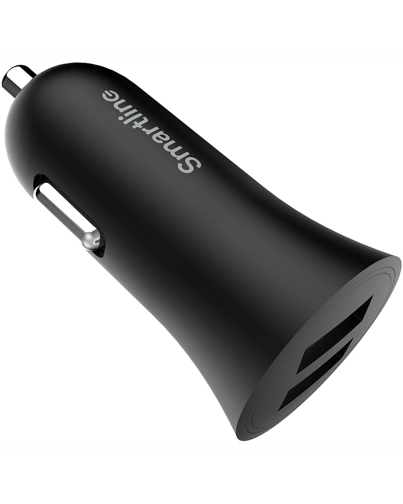Smartline Billaddare 3.4A, 2st USB Portar, Svart