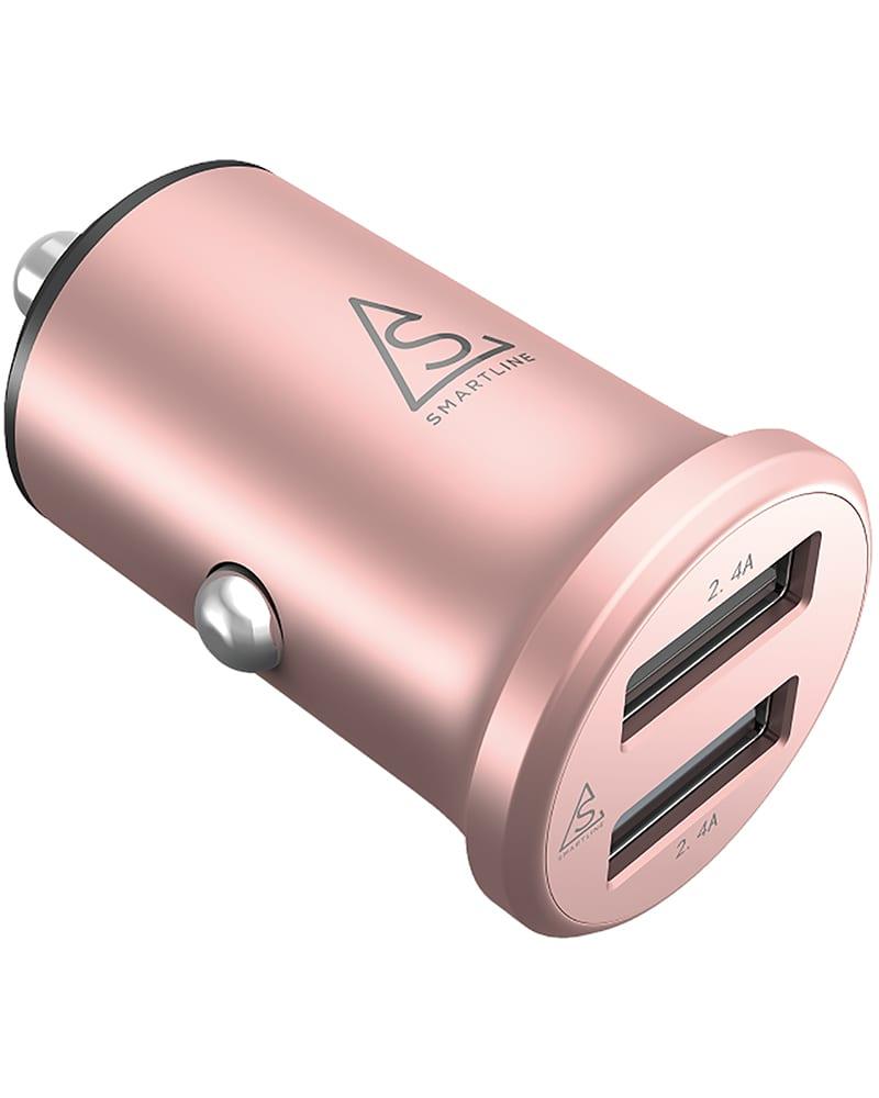 Smartline Billaddare 4.8A, 2st USB Portar, Aluminium Rose