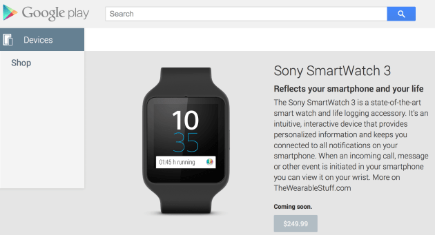 Sony Smartwatch 3 - Google Play Store