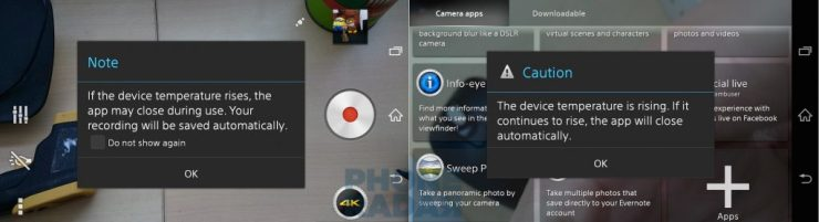 Sony Xperia Z3 Camera App Heat Warning