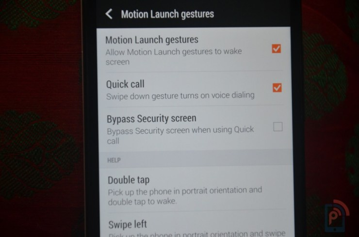 HTC One E8 Gestures
