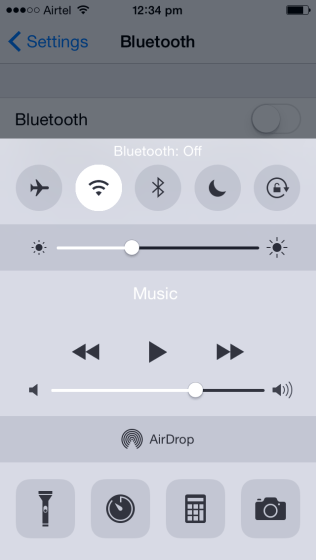 Turn OFF Bluetooth - Control Center