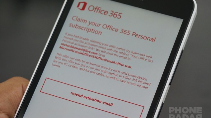 Microsoft Lumia 640 XL Claim Office 365 Subscription