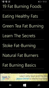 Fat burning foods app for Windows Phone