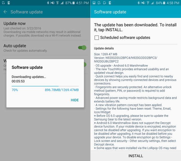 Samsung Galaxy Note 5 - Marshmallow OTA