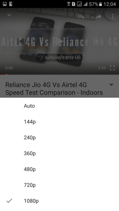 YouTube App Video Playback Quality