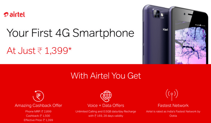 Airtel's 4G Phone Launched at Rs 1399 in Competition with