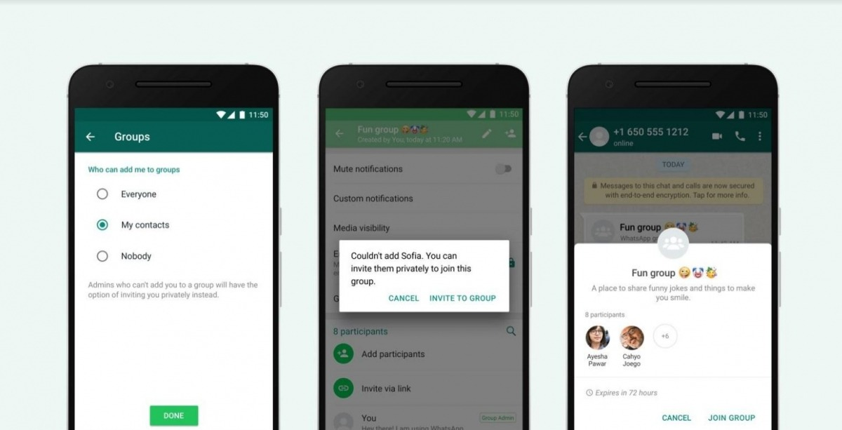 WhatsApp letting users control who adds them to group messages
