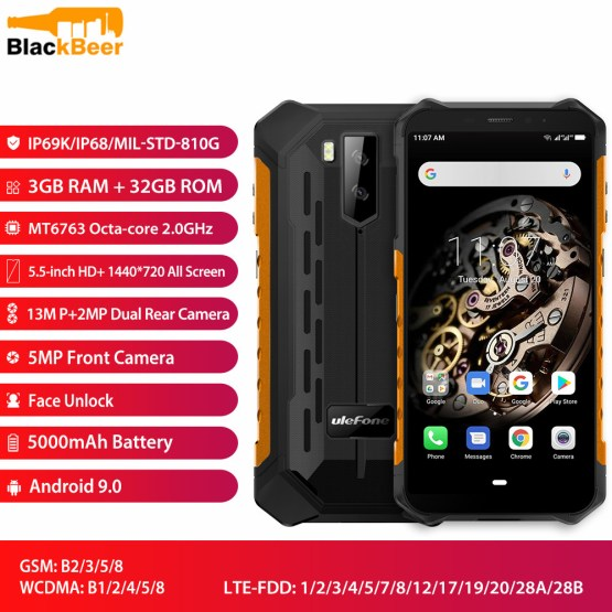 """Ulefone Armor X5 5.5"""" Mobile Phone 4G LTE Rugged Waterproof Smartphone Android 9.0 CellPhone 3GB 32GB MT6763 Octa Core IP68 NFC"""