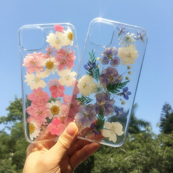 Dry Pressed Real Flower Phone Cases For iPhone 11 X XR XS Max 6 6S 7 8 Plus 11 Pro Max Glitter Floral Transparent Silicone Cover