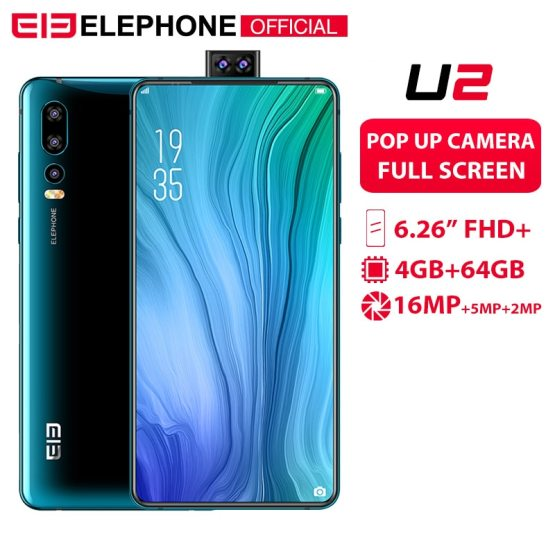 "Elephone U2 16MP Pop Up Camera Mobile phone Android 9.0 MT6771T Octa Core 6GB+128G 6.26"" FHD+ Screen Face ID 4G LTE Smartphone"