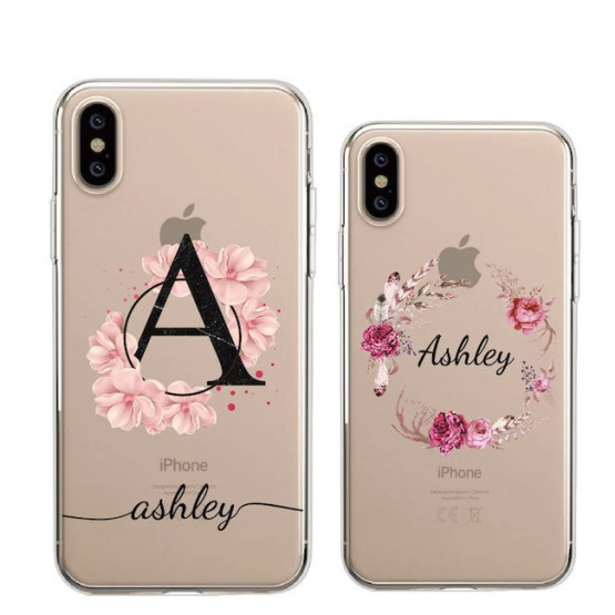 Custom Personalization Name Vintage Flower Wreath Bouquet Phone Soft Custom Personalization Name Vintage Flower Wreath Bouquet Phone Soft Clear Case For iPhone 11 Pro Max XS Max XR X 7Plus 8Plus.